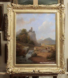 Копия картины Andreas Schelfhout «Пейзаж с руинами и водопадом» в интерьере мастерской