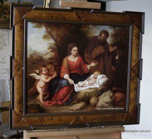 Копия картины «Отдых святого семейства на пути в Египет» в интерьере мастерской