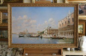 Копия картины Federico del Campo «GONDOLAS BY THE DOGE'S PALACE, VENICE» в интерьере мастерской