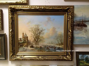 Копия картины Fredrik Marinus Kruseman «Пейзаж с крепостью» в интерьере галереи
