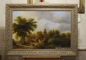 Копия картины Koekkoek, Barend Cornelis «Пейзаж с лесной дорогой» в интерьере мастерской
