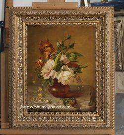 Копия картины «Цветы на мраморном столе» Симон Сен-Жан
